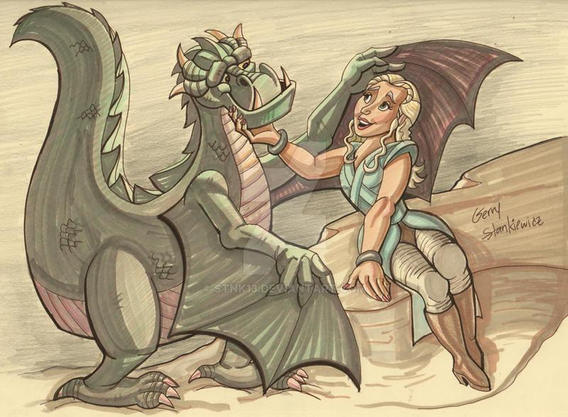 daenerys targaryen and her dragon by Stnk13