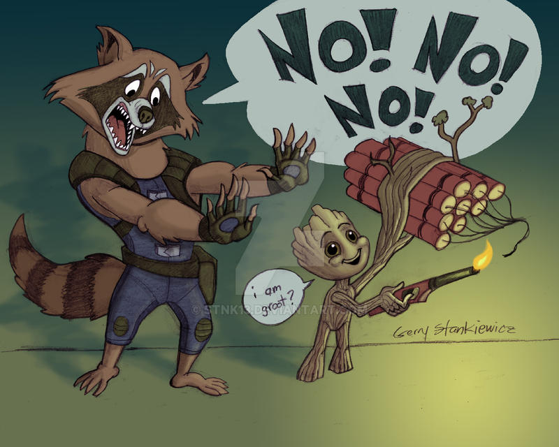 Rocket Raccoon and Baby Groot by Stnk13