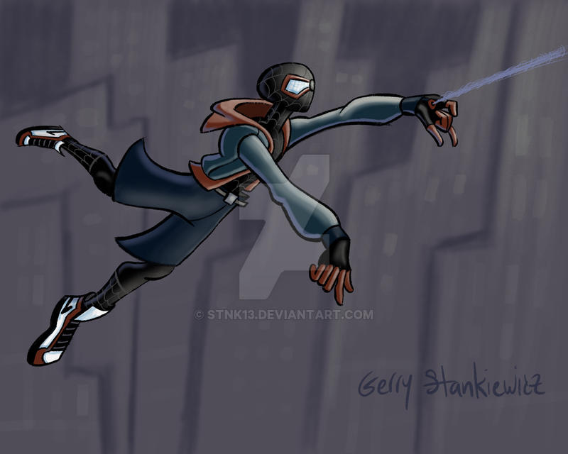 Miles Morales swinging colors by Stnk13