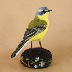 Needle felted Western yellow wagtail