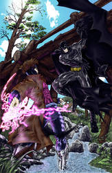 Colouring: Batman vs Gambit by ChibiNeo