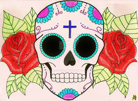 Sugar Skull Tattoo Design (colour)