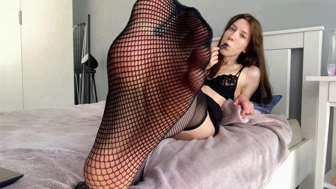 Sexy Russian Feet in Fishnet Stockings 9