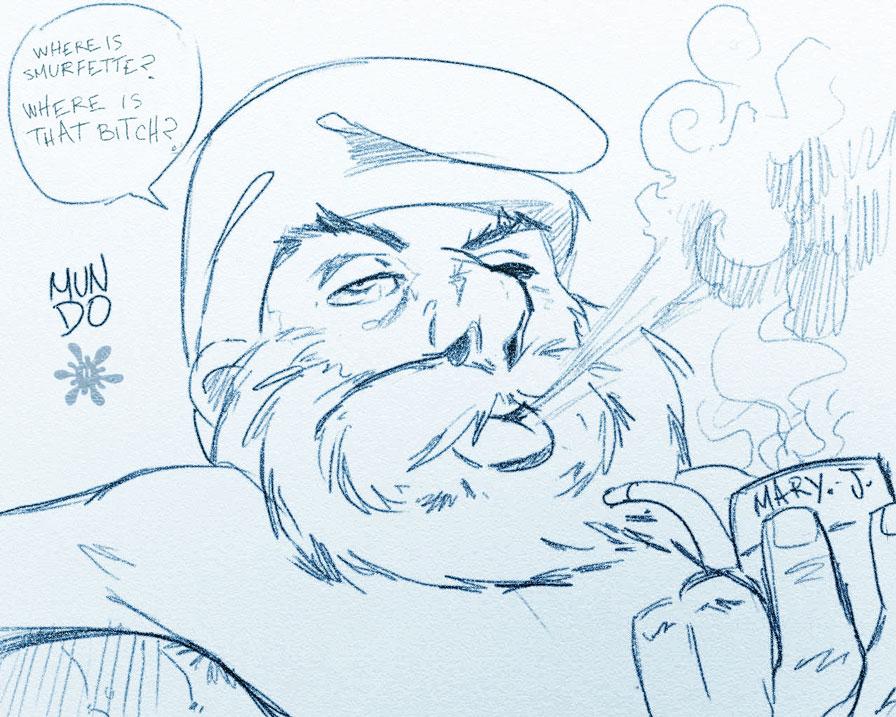 Smurfs Smoking Weed Papa smurf by mundokk
