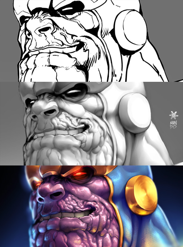 Thanos Illustration process by Mundokk