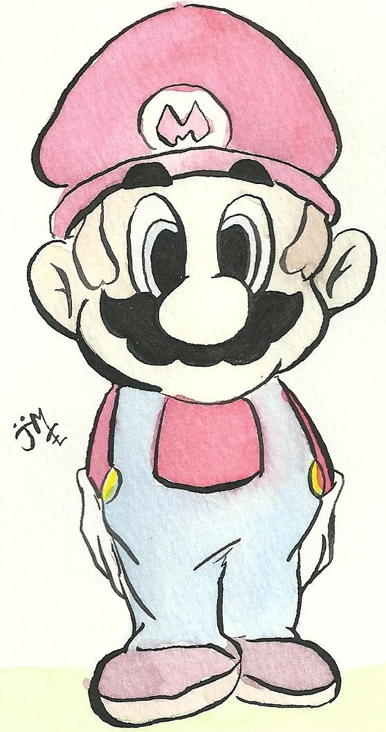 Super Watercolor Bros.-Mario by cowboybebopmcgoo