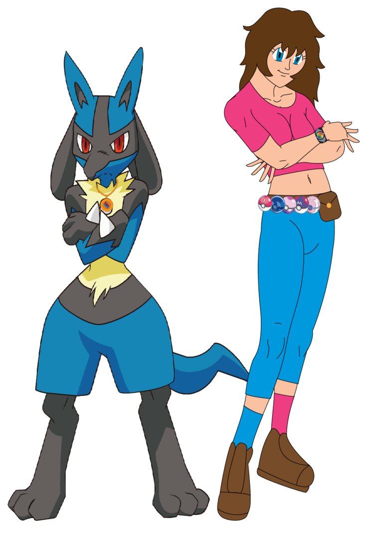 Pokemon Trainer Hannah and Lucario by sonichannah