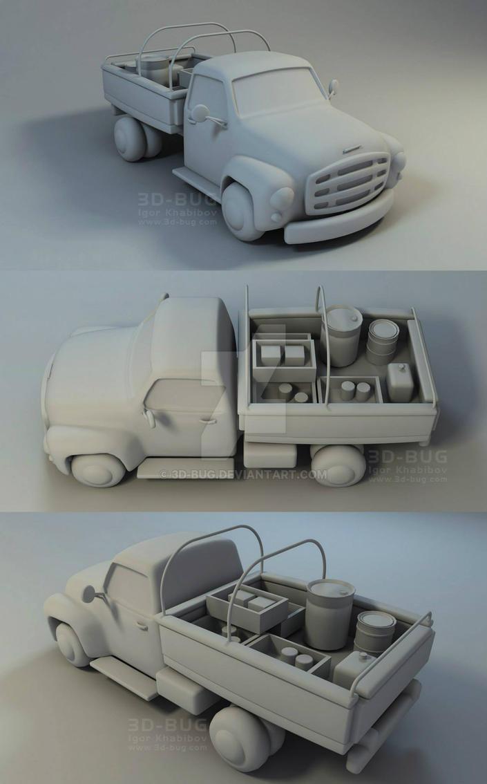 Cartoon Truck by 3D-BUG