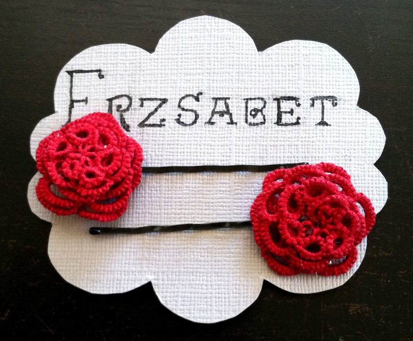Red Rose Tatted Hair Pin by Erzsabet