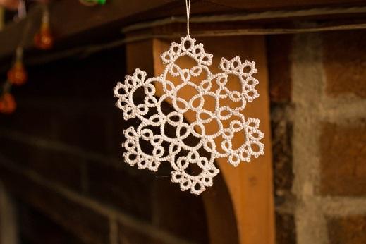 White Snowflake Hanging by Erzsabet