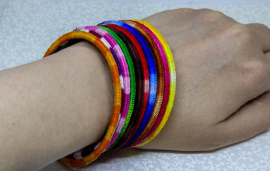 Variegated Tatted Bangles Worn
