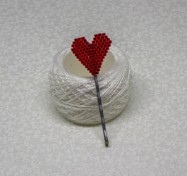 Beaded Heart Hairpin