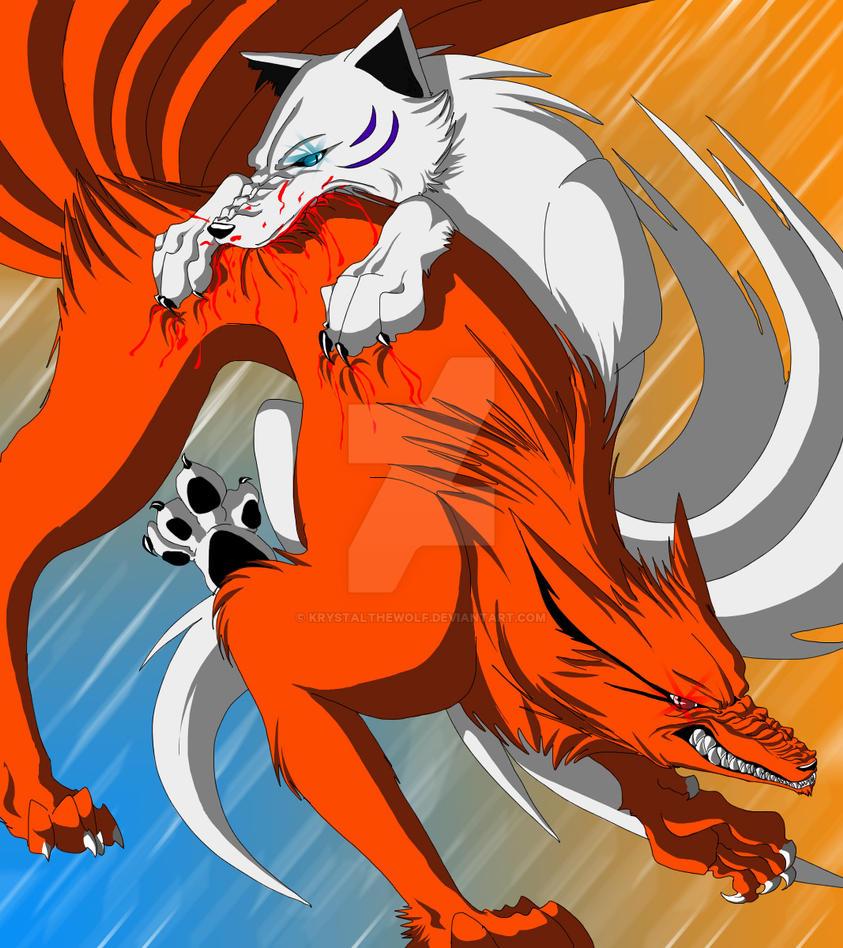 kyuubi vs houkou by krystalthewolf on deviantart