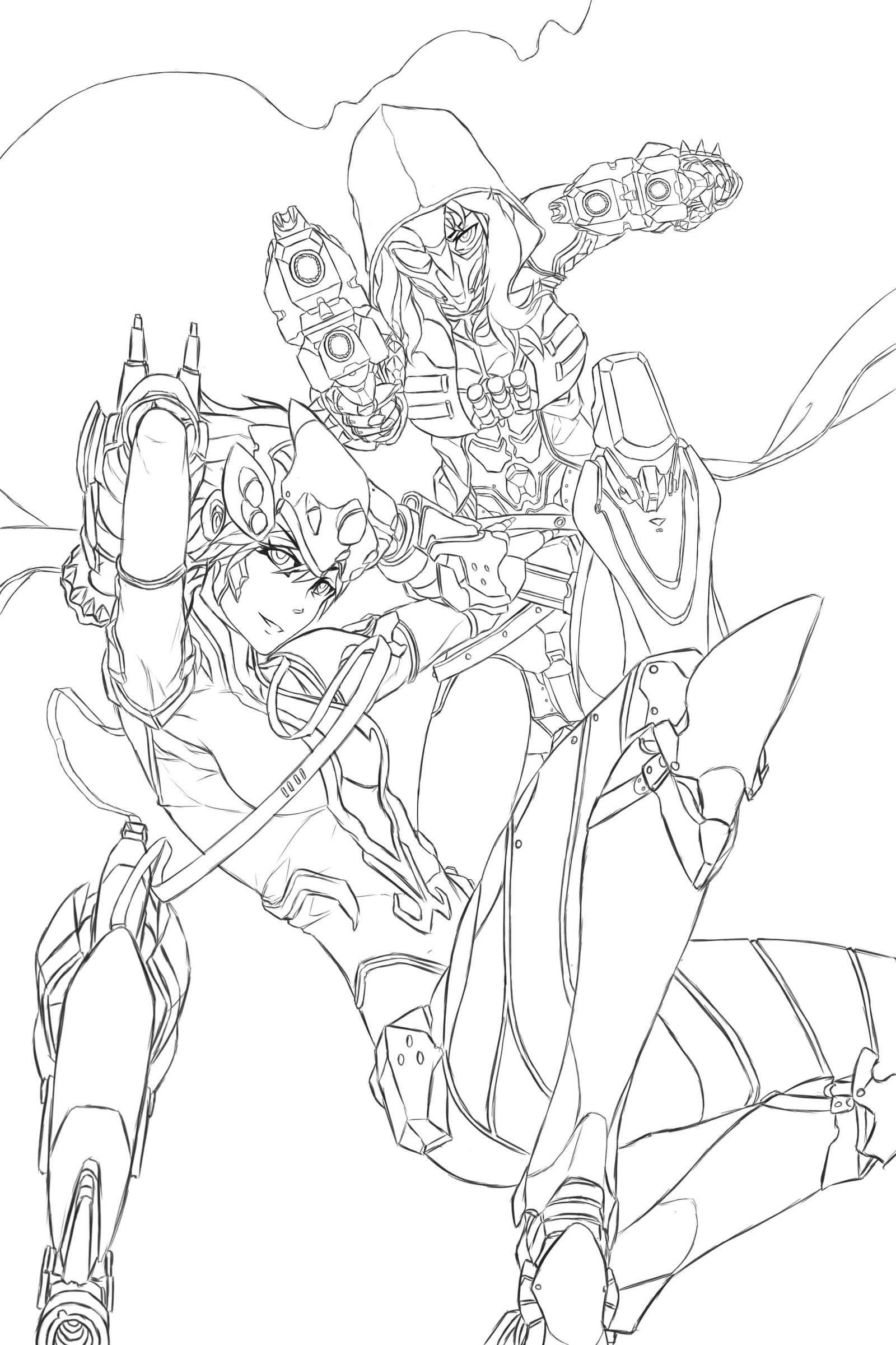 Rwby x overwatch wip by dishwasher1910 on deviantart for Overwatch genji coloring pages