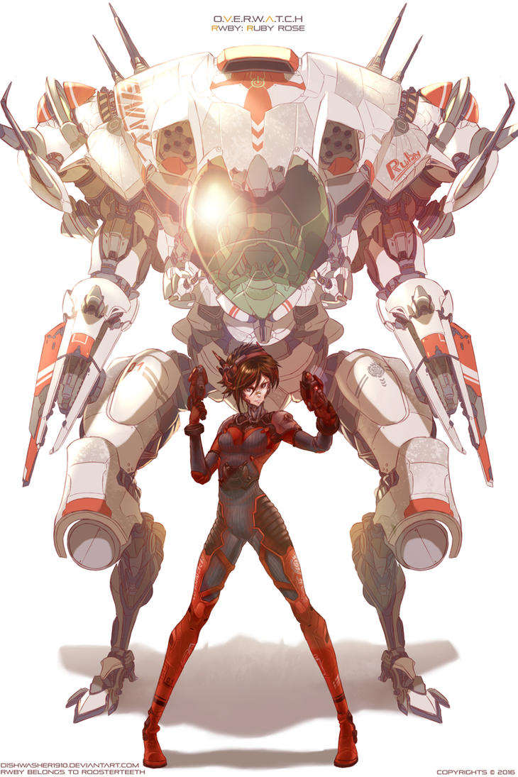 RWBY x Overwatch : Ruby Meka by dishwasher1910