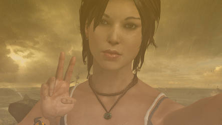 Lara Croft taking a selfie