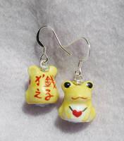 frog earrings by xlilbabydragonx