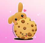A bunnie eatting a cookie