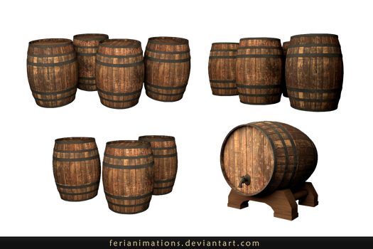 Wooden barrels_Stock