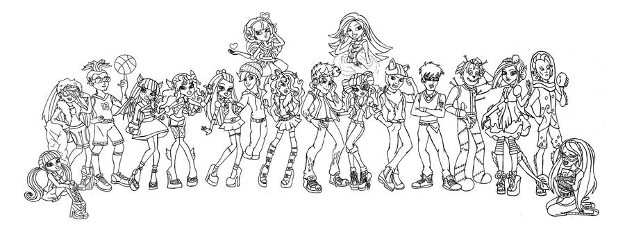 monster high all characters together coloring pages deviantart more - Coloring Pages Monster High Venus