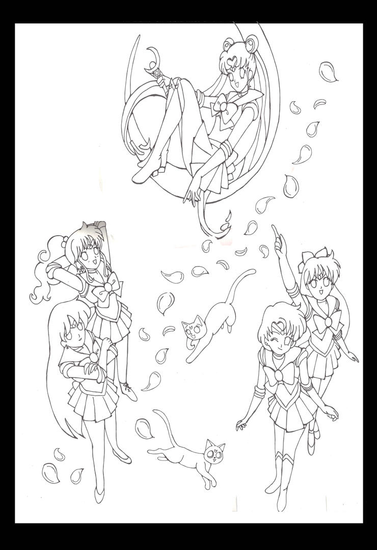 line art for Sailor moon painting by Fallonkyra