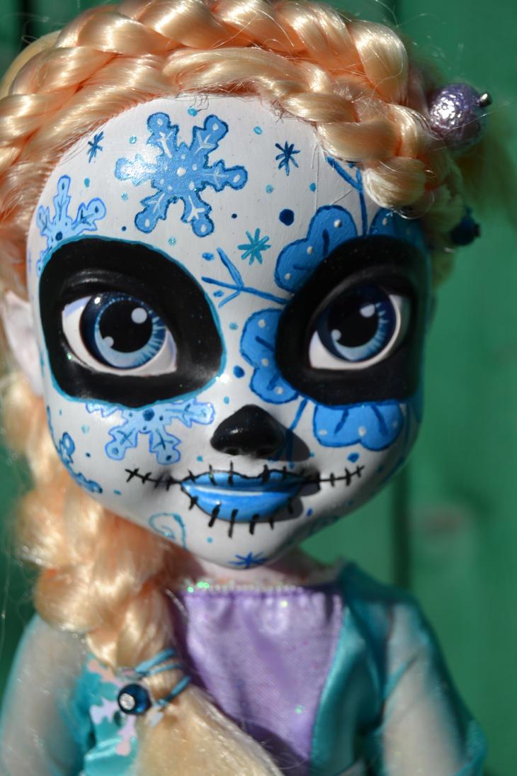 Sugar skull Elsa WIP by Fallonkyra