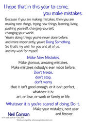 Make New Mistakes - NeilGaiman Motivational Poster by antoniavogel