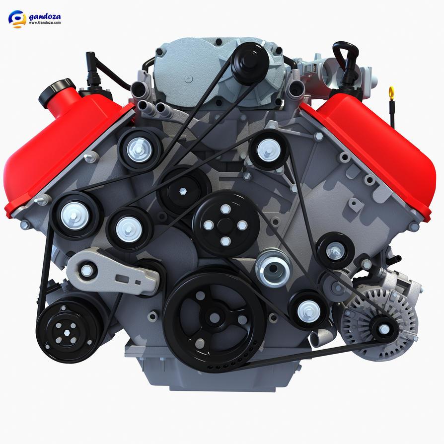 3D Models | V8 Engine 3D Model by Gandoza