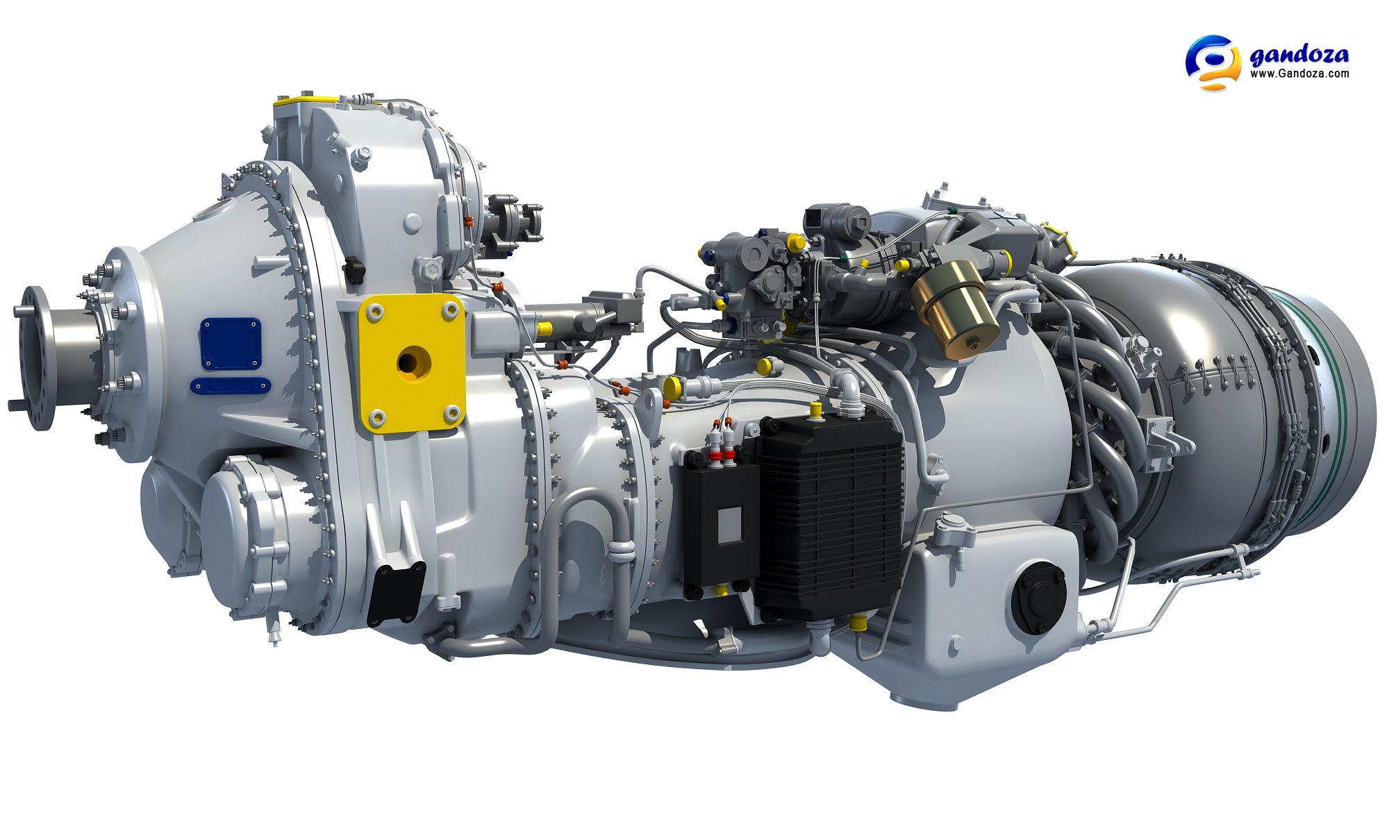 PW100 Turboprop Engine 3D Model by Gandoza