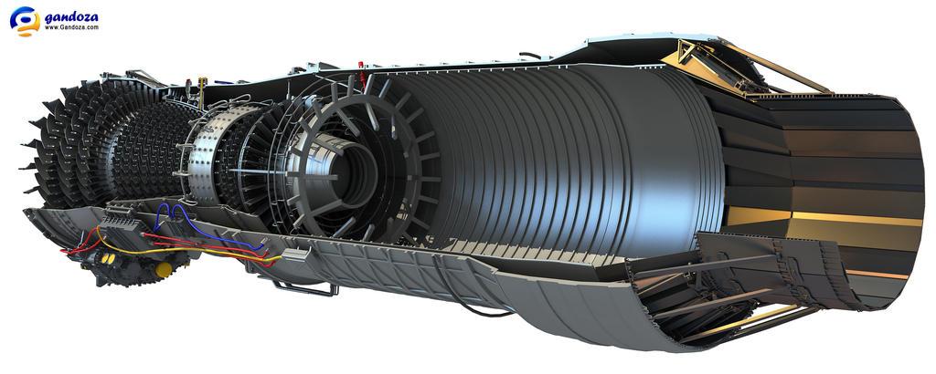 turbofan engine cutaway 3d model by gandoza on deviantart. Black Bedroom Furniture Sets. Home Design Ideas