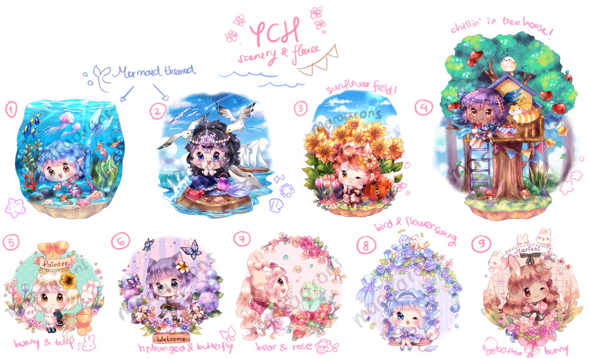YCH Scenery + Mini flowers! [ALL DONE!]