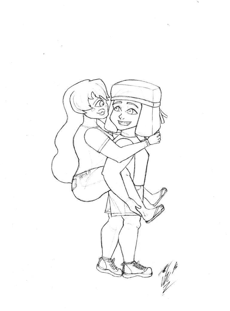 Ruby and Sapphire lineart by Vtori73