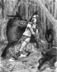 Red Sonja vs. Dire Wolves