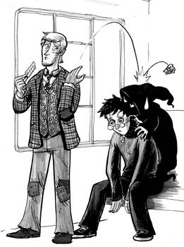 Lupin, Harry, and a dementor
