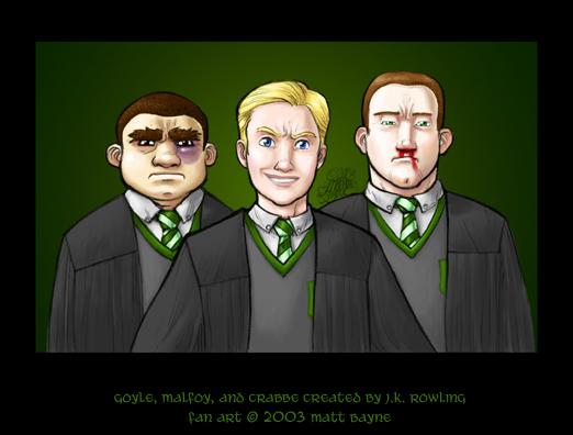 Goyle, Malfoy, and Crabbe