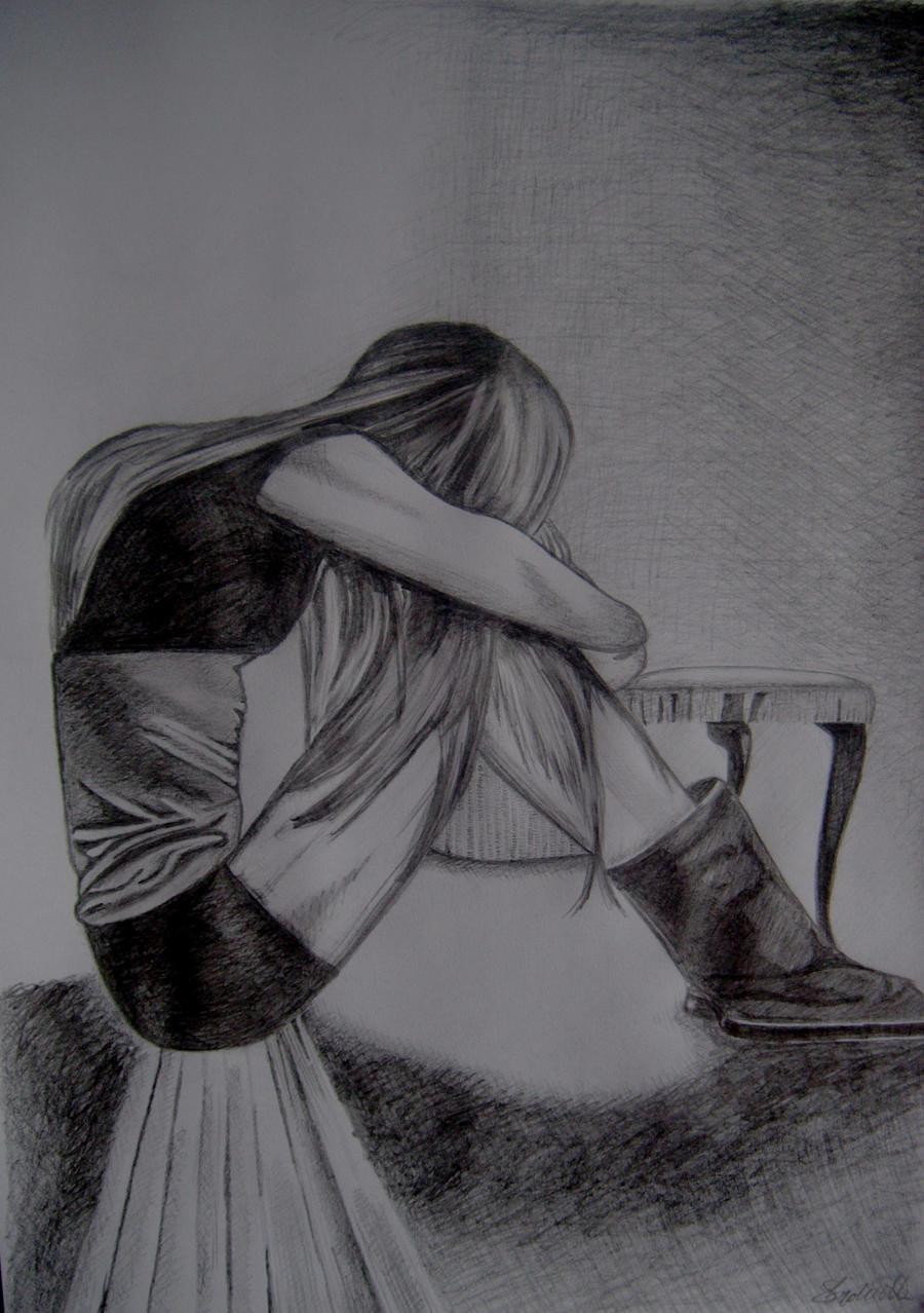 Рисунок одинокой девушки 18 фотография