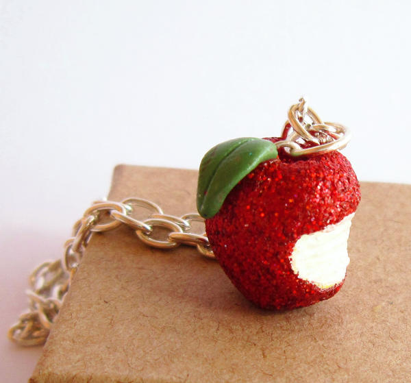 Bitten Apple Necklace by FlowerLandBySaraMax