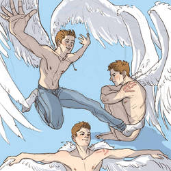 Dean!Angel sketches by MsIndieRock