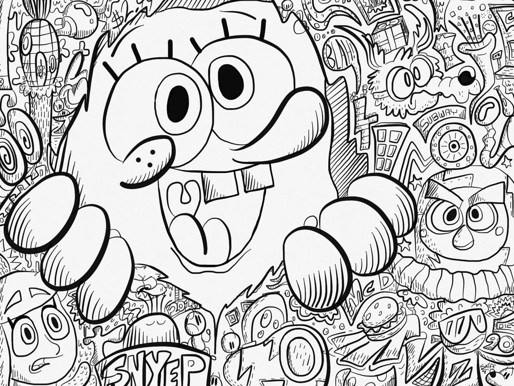 spongebob doodle by tystycartoons on deviantart