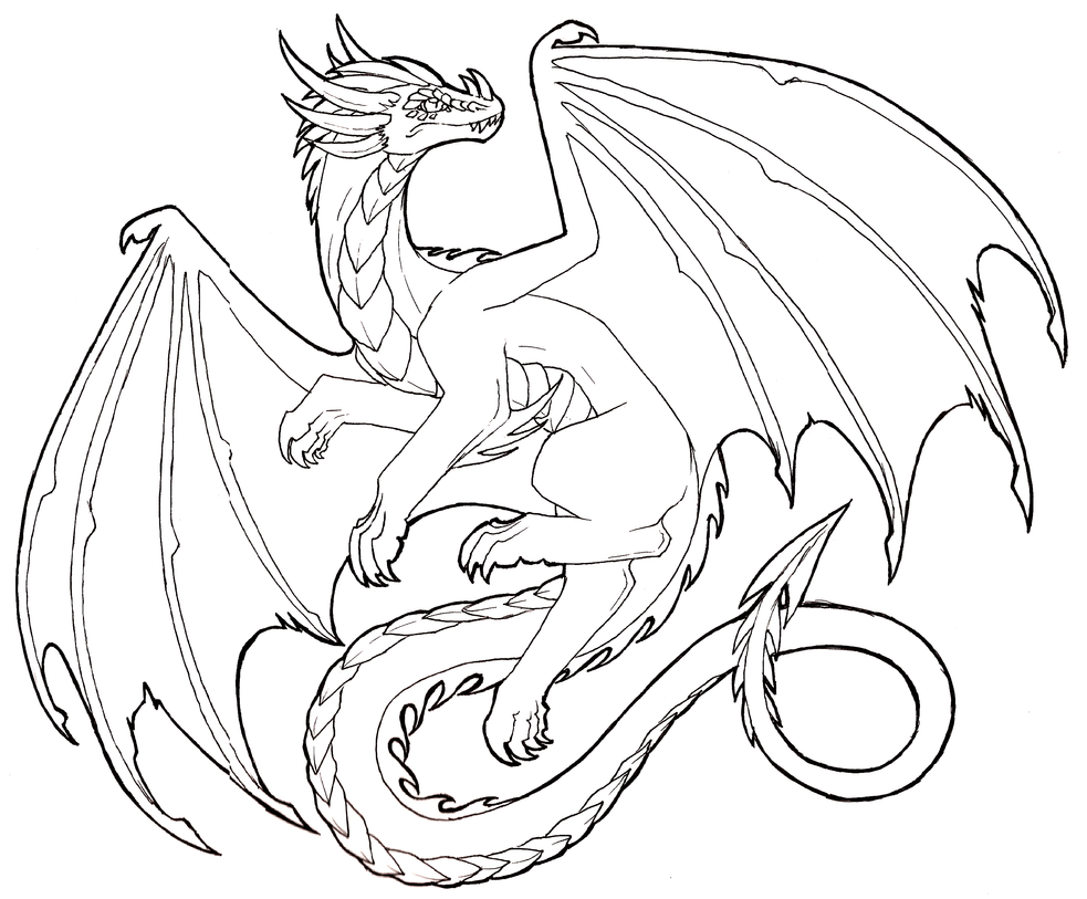 Dragon Lineart : Flying dragon lineart free to use by lucieniibi on deviantart