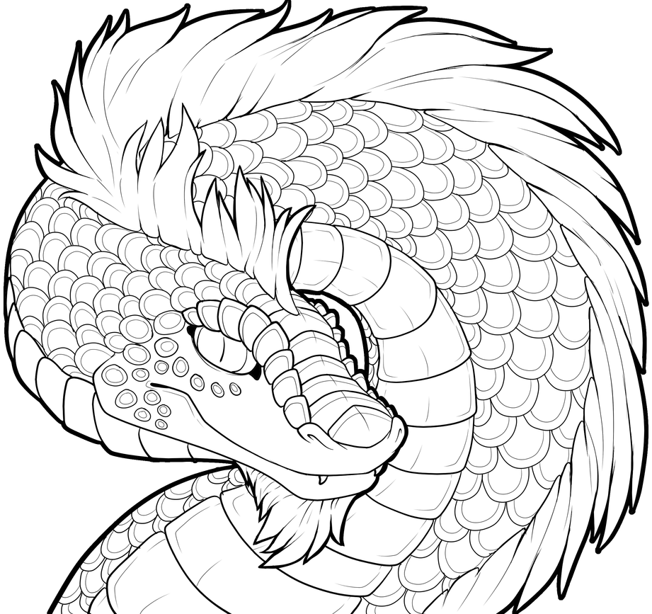 Dragon Lineart : Dragon lineart collab with catbread rainbows by
