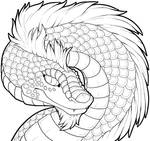 Dragon Lineart- Collab with Catbread-Rainbows