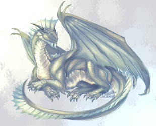 Silver Dragon of the Forgtten Realms by Lucieniibi
