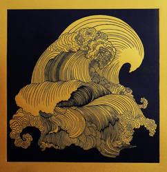 Big Wave linocut by lightningale02