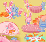 bunny pancake and kitty milkshake