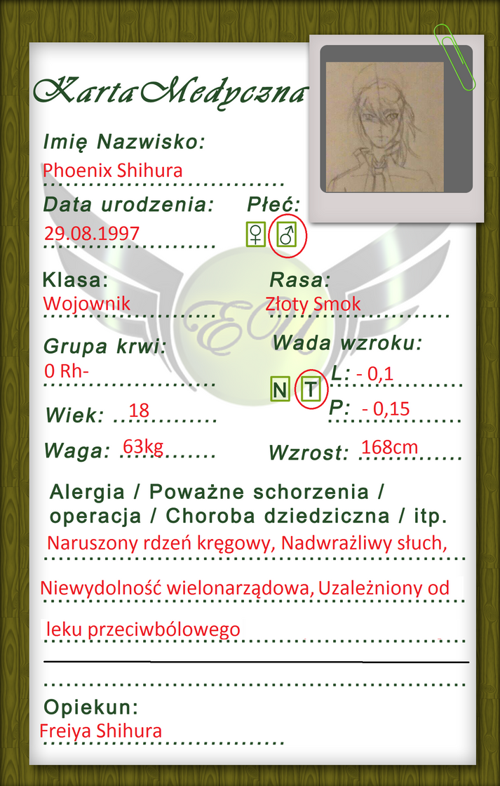 [Eu] Karta Medyczna Phoenix Shihura by AvalDragon