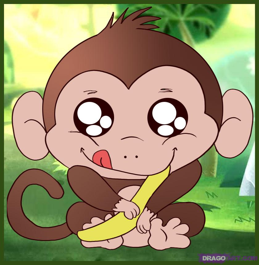 Monkey Cartoon Baby How to Draw a Baby Mon...