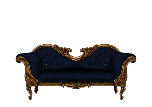 Baroque Sofa in Blue PNG