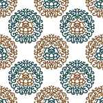 Lotus Pattern Teal n Gold