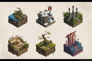 Isometric game asset concepts by artbymatthew